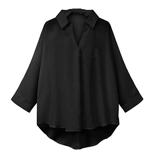 N\P Herbst an and n Damen Große Größe Top Revers Langarm Shirt Lose Bluse Gr....