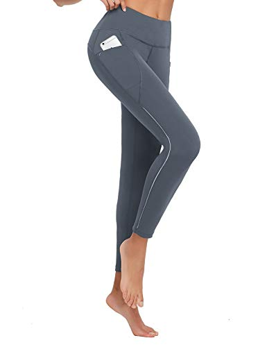 BALEAF Women's Running Tights High Waisted Workout Pants Long Winter Leggings Pockets Reflective UPF50+ Gray Size L