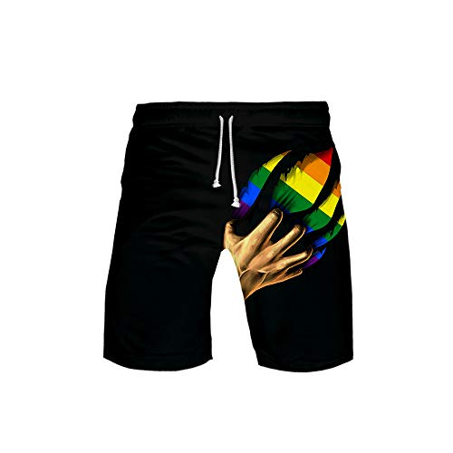 URVIP Kinder Regenbogen Pride Flag Gay LGBT Shorts 3D Druck Kurze Hose Badehose Freizeithose Jogginghose Sporthose Trainingshose Jogger Sweatpants Regenbogen-08 L