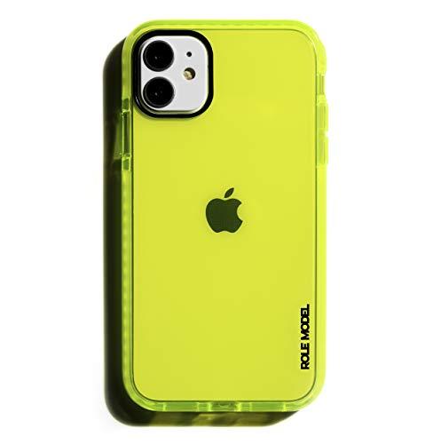 ROLE MODEL CYBERCASE Neon Gelbe Handy Schutzhülle für Apple iPhone, Intensiv Leuchtend, mit Airbag Technologie (iPhone 12 Mini, CYBERGELB)