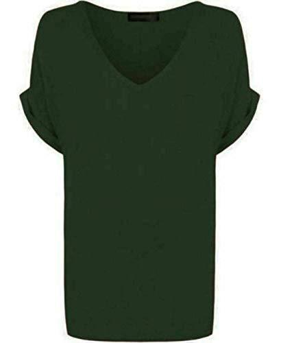 Camiseta de manga corta para mujer con cuello en V y cuello en V para verano, talla grande, tallas 38 a 56