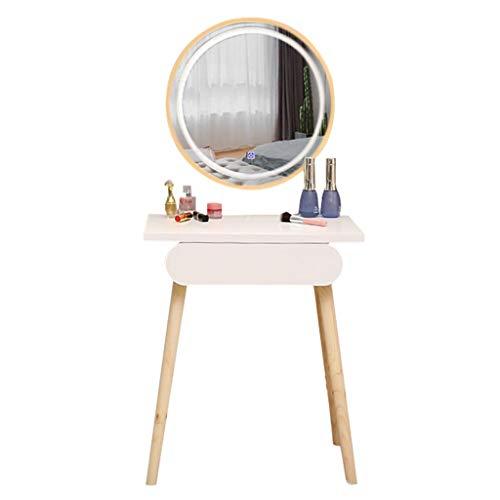 OMIDM Tocador Mesa de tocador Blanca con Pantalla táctil LED iluminada Atenuación Espejo Redondo Maquillaje Tocador Cajones deslizantes for Lady Girl Dormitorio Tocador de Maquillaje (Size : 60cm)