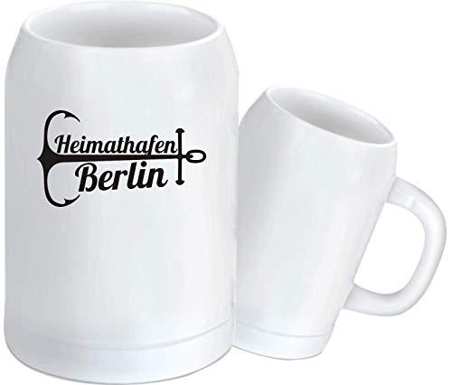 Shirtinstyle Bierkrug, Heimathafen Berlin. Urlaub Heimat Familie Zu Hause Freunde Spruch, Krug Glas Keramik, weiß