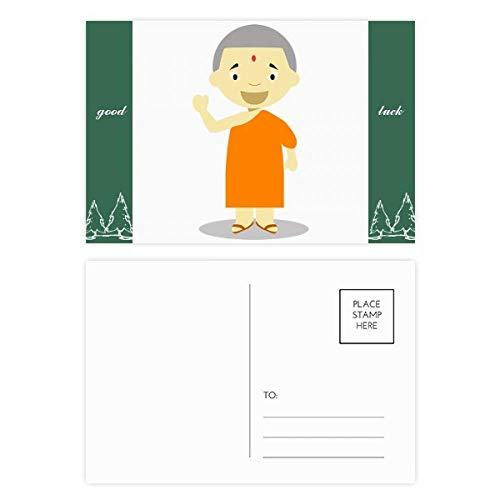 Orange Gown Monk Nepal Cartoon Good Luck Postkaart Set kaart Mailing Zijkant 20 stks