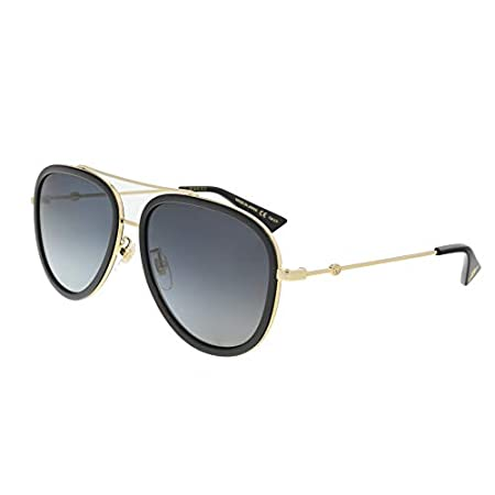 Fashion Shopping Gucci GG 0062S 011 Black Gold Metal Aviator Sunglasses Grey Gradient Polarized Lens