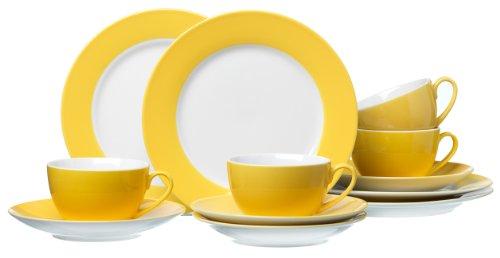 Ritzenhoff & Breker Kaffeeservice Doppio, 12-teilig, Porzellangeschirr, Gelb