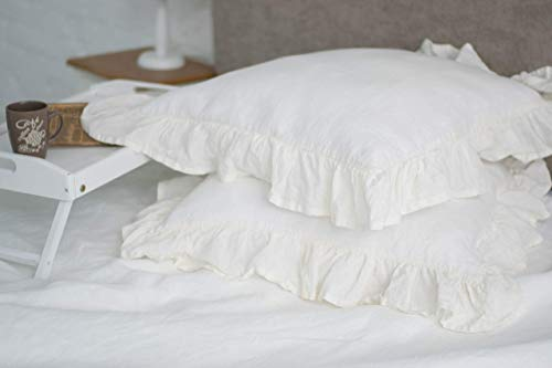 One Shabby Chic Pure Linen Ruffled Sham - Standard, Queen, King, Euro Sizes -Natural, White or Grey Colors