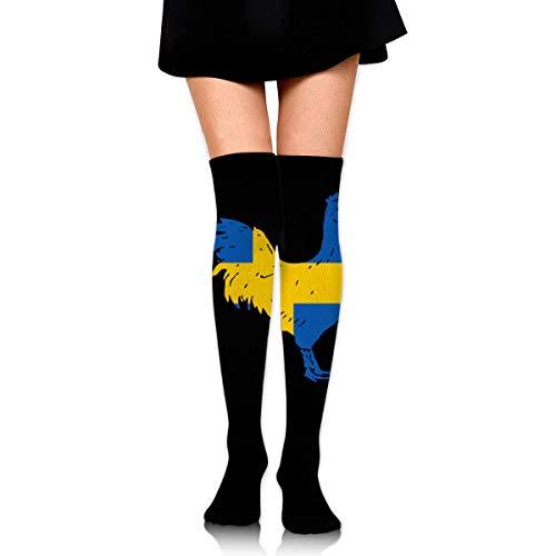 Nice-Guy Gallo con la media sueca Flag-1 Girls Fashion Over Knee Thigh High Socks Stocking