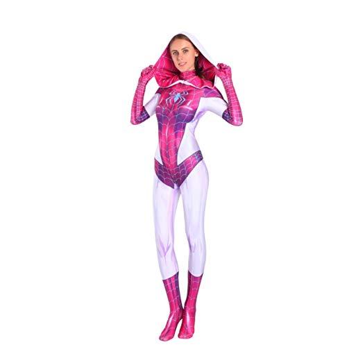 ZYZQ Mujeres Girls Superhero Spiderman Disfraz de Disfraces de Lujo de Halloween Carsplay Body Body Detalle Headgear Spandex/Lycra Mono,Pink-Adults~L(160~170cm)
