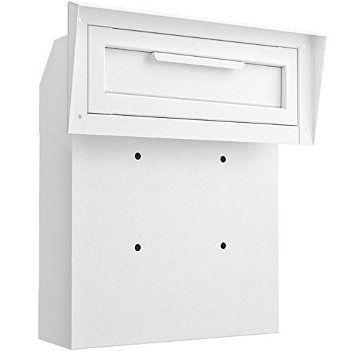 DROPZZA Rainproof Locking Mailbox - Reinforced Through-The-Door Dropbox, Double Steel Door Drop Safe Locked Mailbox with Rubber Mat, Metal Baffle Mail Slot and Rain Protection Key Drop Box (white)