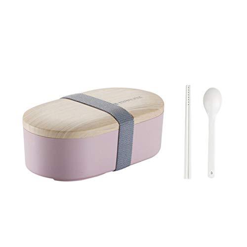 Tome la caja de almuerzo de madera Shoushi Lie con vajilla, rosa