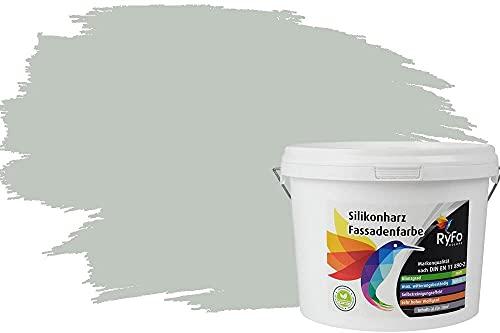 RyFo Colors Silikonharz Fassadenfarbe Lotuseffekt Trend Graugrün 3l - bunte Fassadenfarbe, weitere Grün Farbtöne und Größen erhältlich, Deckkraft Klasse 1