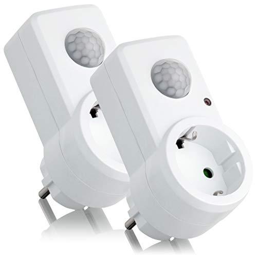 SEBSON Zwischenstecker mit PIR Bewegungsmelder, Sensor Steckdose programmierbar, max. 1200W Glühlampe, max. 300W LED, IP20, 2er Pack