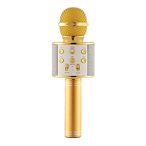 Y2H Wireless Bluetooth Handheld Microphone for Karaoke|Portable Mic| Singing Microphone/Mic and Bluetooth Speaker Compatible with iPhone/and All Android Smartphones(Gold/Rosegold)