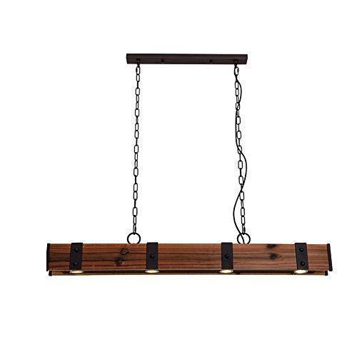 Lámpara colgante LED de techo Lámpara colgante de comedor de madera Lámpara colgante de mesa de comedor Lámpara colgante Lámpara colgante de altura regulable Lámpara de techo Bombillas con focos integ