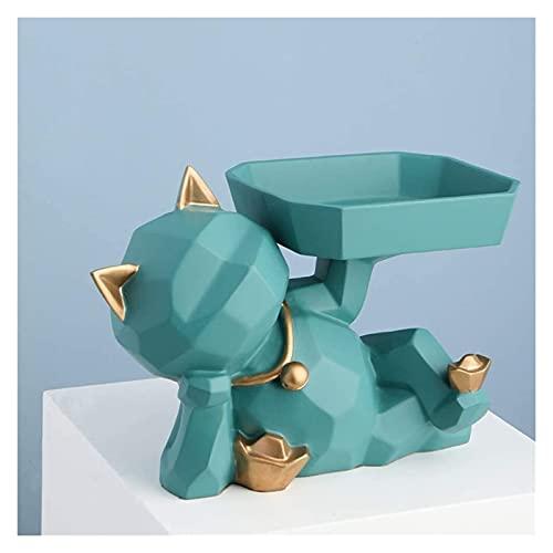 Ornamento Casual Bandeja De Almacenamiento Gato Escultura Resina Creativa Sundries Contenedor Key Candy Home Office Sala De Estar Desktop 25x15x16cm HAODAMAI (Color : Green)