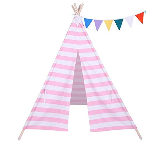 best-good Kingsea Indian Tent Children Teepee Tent Baby Indoor Dollhouse with Small Coloured Flags Roller Shade and Pocket Pink and White Stripes(US Shipping)
