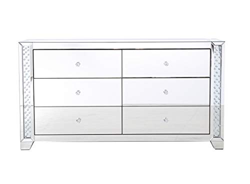 Elegant Decor 60 in Clear Crystal Mirrored six Drawer Cabinet
