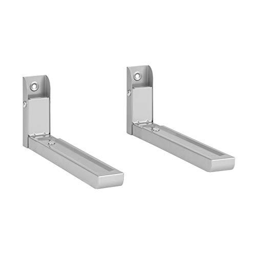 Klarstein MB-6 - Mikrowellenhalterung, belastbar bis 30 kg, Mikrowellenhalter, geeignet für Mikrowellen von 32,5-49,2 cm Tiefe, Wandinstallation, Pulverbeschichtung, Stahl, silber