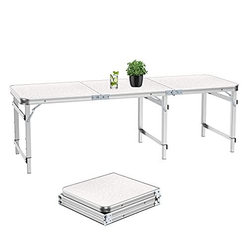 1.8m Klapptisch aus Aluminium, Tragbarer Campingtisch für Picknick/Grillen/Gartenparty/Auto-Kofferraum