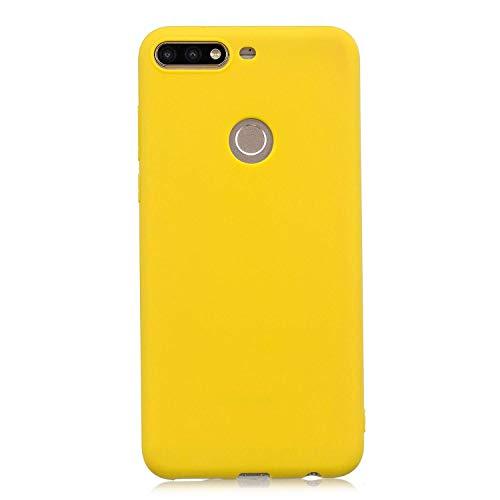 cuzz Funda para Huawei Y9 2019+{Protector de Pantalla de Vidrio Templado} Carcasa Silicona Suave Gel Rasguño y Resistente Teléfono Móvil Cover-Amarillo