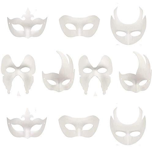 Xinlie Máscara Blanca sin Pintar, Máscaras de Bricolaje Máscaras de Fiesta con Forma de Bola enmascarada Máscaras anónimas para Pintar niños para el Carnaval de Halloween Máscara diseño (10 Piezas)