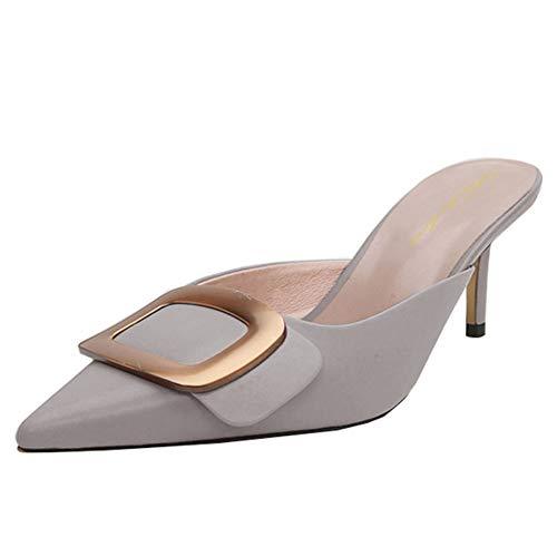 Lutalica Damen Spitzschuh Kitten Heel Casual Pantoletten Slip-On Sandalen Hausschuhe Grau Größe 44