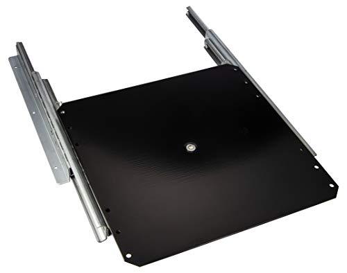 Gedotec TV-Drehteller Fernseh-Auszug drehbar zum Schrauben an Fachboden | Tragkraft 50 kg | Vollauszug mit Drehplatte schwarz | Auszugslänge 335 mm | 1 Stück - Schrankauszug für Flachbildschirm