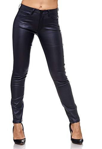 EGOMAXX Damen Treggings Leder Optik Biker Stretch Hose Faux Hüfthose, Farben:Dunkelblau, Größe:42 / XL