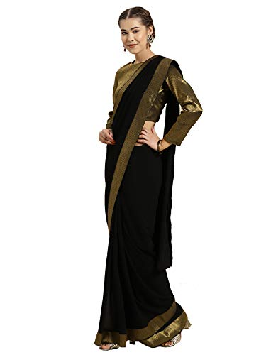 Inddus Women's Woven georgette Bordered Saree with Blouse Piece (Black )