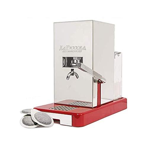 LUCAFFÈ La Piccola Smart Base Rossa, Kaffeemaschine für Kaffeepads 35 mm, Papierkapseln für Kaffeemaschinen 28x16x31, geringer Verbrauch, hohe Qualität Made in Italy + 300 Smart Lucaffè-Pads 35 mm