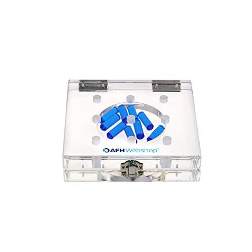 AFH-Webshop 1453401 9 Hole Pegboard Test aus Acryl/Steckbrett/Stecktafel/Therapie Ergotherapie, 16 x 16 cm