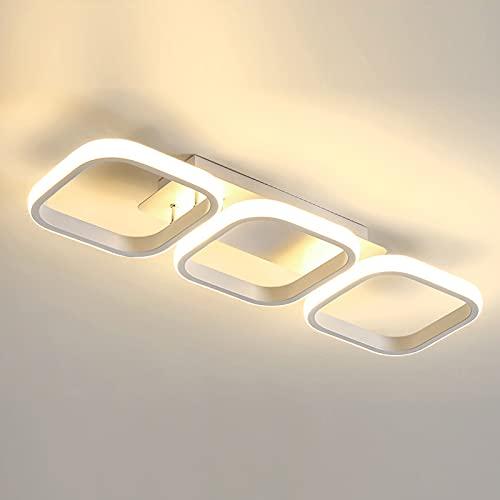 Lámpara de techo de 3 rectangulares, 33 W, LED, simple, moderna, color negro y blanco