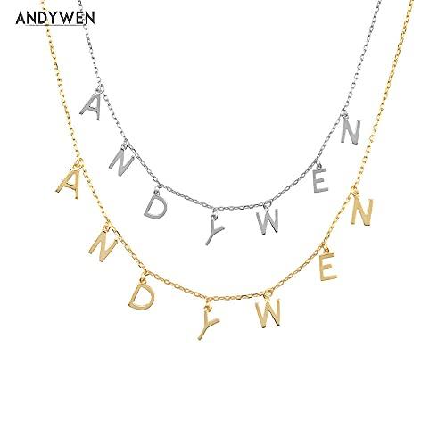 925 Plata Oro Letra llana Alfabeto inicial Impresión individual Nombre Colgante Collar largo con encanto de cadena 201 Wedding-Srebrny_50CM_14 Letras
