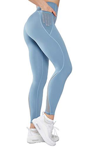 Gmardar Leggings Dameslegging met tas, lang en high taille, buikcontrole, elastische hardloopbroek, yogabroek, joggingbroek, vrouwen voor fitness, sport, yoga, hardlopen