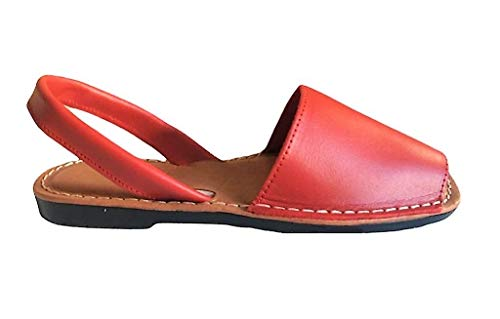 Authentische Ibizan Menorca Avarcas Made in Spain Sandalen mit gepolsterter Sohle (40 EU, Rot)