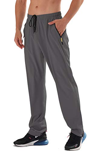 AIRIKE Men's Elastic Waist Lounging Pants Outdoor Casual Quick-Dry Lightweight Hiking Sweatpants with Pockets
