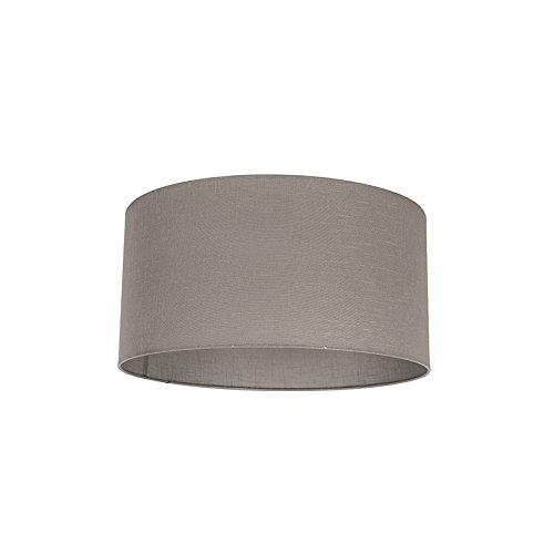QAZQA Modern Polyester Lampenschirm 50/50/25 Zylinder taupe, Rund gerade Schirm Pendelleuchte,Schirm Stehleuchte