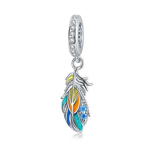 Encantos de plata de ley con forma de corazón y flor de animal para adaptarse al collar de pulsera Pandöra para mujeres y niñas