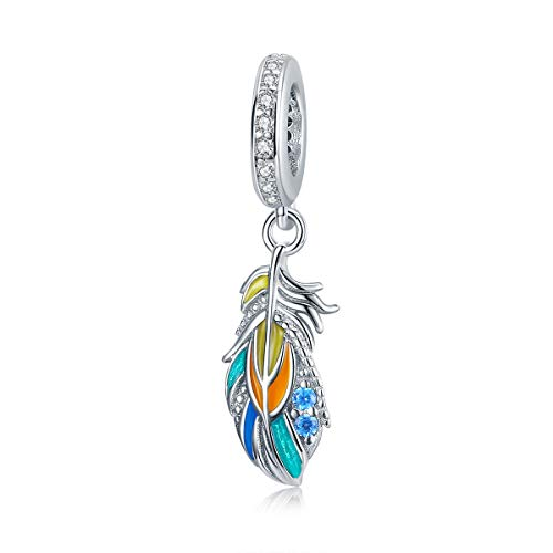 Feather Charm Original Authentic 925 Sterling Silver Colorful Enamel Crystal Angel Feather Charm Animal Charms for Bracelets Necklace Christmas Gifts for Family MOM Daughter Women Jewellery (Purple Fairy Wings Charm C1598)