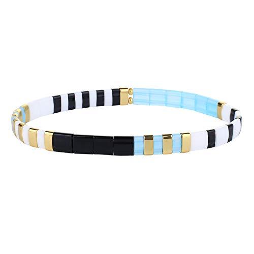KELITCH Colorful Tila Beads Bracelets Miyuki Stackable Strand Stretch Bracelets Mixed Friendship Bracelets - 9O