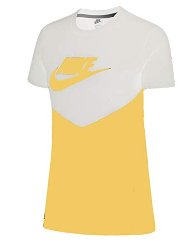 NIKE Hrtg Top - Camiseta para Mujer, N'est Pas Applicable, Mujer, Color White/Topaz Gold/Topaz Gold, tamaño XXL