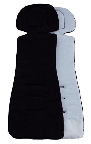 ByBoom - Sitzauflage/Sitzeinlage COMFORT mit Sommer- und Winterseite, Universal für Autokindersitz Gr. 0, 0+, I, II, III z.B. für Römer, Maxi-Cosi, für Kinderwagen und Buggy, Farbe:Schwarz/Grau