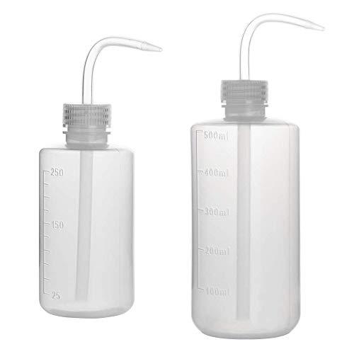 Voarge 2 Pezzi Bottiglie di Plastica da Spremere, Bottiglie di plastica traslucida a gomito, Bottiglie di plastica di sicurezza da laboratorio(250 ml / 500 ml)