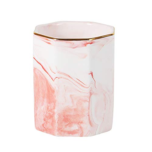 YOSCO Ceramic Desk Pen Holder for Girl Kids Marble Pattern Pencil Cup Pot Stand Desk Organizer Makeup Brush Holder(Pink)