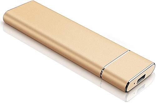 Disque Dur Externe, Disque Dur Externe Portable 1 to 2 to Disque Dur Externe Ultra-Mince 3.1/Type-C, Compatible avec PC, Ordinateur de Bureau, Ordinateur Portable, Mac (2TB, Gold)