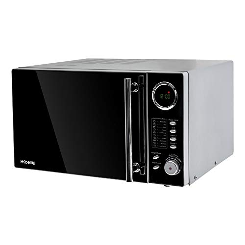 H.Koenig VIO9 Forno Microonde/Grill/Combinato, 25L, 10 programmi di cottura, Diametro piatto 27cm, 1000W, Nero