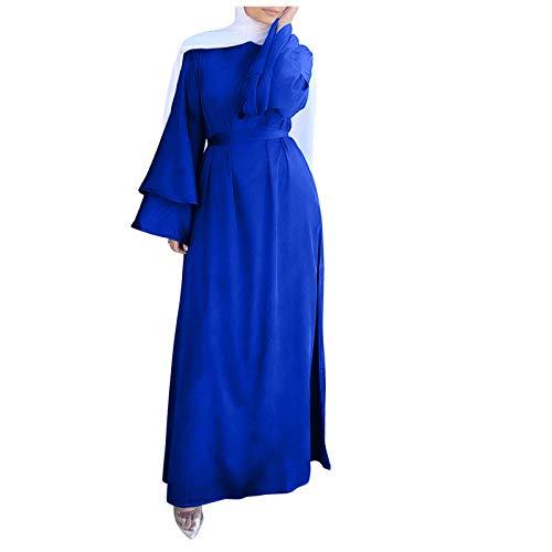 L9WEI Muslimische Langärmliges Kleid Gebet Kleider Damen Muslim Abaya Dubai Kleidung Kleider Arab Arabisch Indien Türkisch Casual Robe Maxikleid