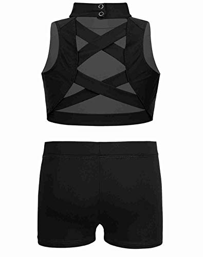 CHICTRY Kids Girls Basics 2-Piece Dance Outfits Sleeveless Crew Neck Crop Tops with Shorts Activewear Set X-Straps Black 11-12 Years