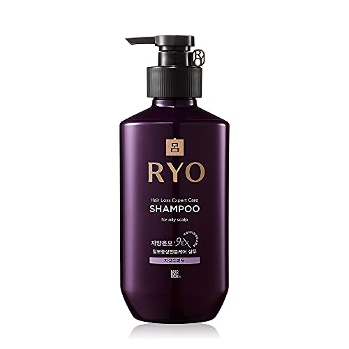 RYO Hair Loss Care Shampoo For Oily Scalp 400ml (13.5oz) Excess sebum care, For smelly and Itchy scalp, Women and Men Shampoo, Scalp Cleansing, Extra strength Volumizing, for Thinning hair